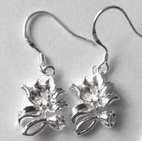 Серьги Цветы, покр. 925 серебро