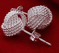 Серьги Узелок, покр. 925 серебро, 8 мм