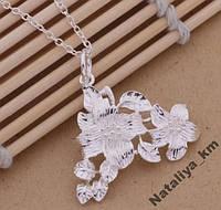 Цепочка и кулон Цветы, серебрение, покрытие 925 серебро