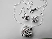 Набор бижутерии Серце, покрытие 925 серебро, серьги + кулон с цепочкой