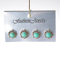 [10 мм] Серьги женские набор 4 шт с камнем из голубой бирюзы с прожилками круглые