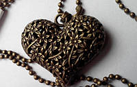 Цепочка с кулоном Сердце, цвет бронза, винтажный стиль