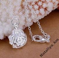 Цепочка и кулон серебряная Роза, покрытие 925 серебро
