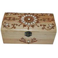 Шкатулка деревянная с металлическим декором ручной работы, 10х20 см ТМ Дерево 172021