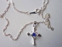 Цепочка и кулон Крестик, покр 925 серебро
