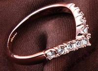 Кольцо Диадема, позолота, покрытие розовое 18К золото, р. 18