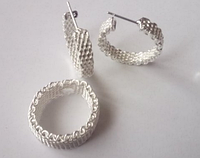 Набор бижутерии Ажурный, покрытие 925 серебро, Кольцо и серьги