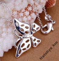 Цепочка с кулоном Бабочка, покр. 925 серебро,проба
