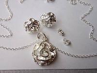 Набор бижутерии Роза, покрытие 925 серебро, 3 части: серьги и кулон с цепочкой