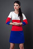 Яркое повседневное платье из новой коллекции выповленно в сочетании трех цветов