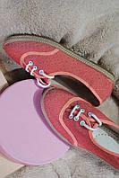 Балетки розовые на шнуровке