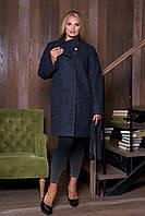 Шерстяное пальто демисезонное серое модель 605