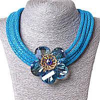 [70х70 мм.] Ожерелье синее с цветком, чешское стекло,  металл каркас и ткань блестящая