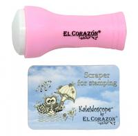 EL Corazon Штамп маленький односторонний и скрапер №3 (розовый)