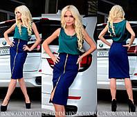 """Эффектная, модная юбка-карандаш """"Стрейч джинс, со змейкой по всей длине"""" 42-60р"""