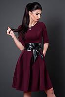 Шикарное вечернее платье в модном цвете марсала пояс из кожи в комплекте