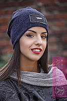 Женская шапка ангора на флисе