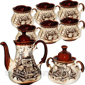 Набор чайный 8 предметов (Чайник 750 мл, сахарница 300 мл, 6 чашек 270 мл) Сонет ST 50102