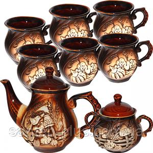 Набор чайный 8 предметов (Чайник 900 мл, сахарница 500 мл, 6 чашек 320 мл) Арго ST 50102