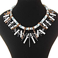 [25-45 мм] Ожерелье с подвесками из бусин, крестообразное плетение, бусины и колечки, цвета: белый, черный, голубой, золотой