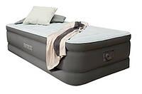 Односпальная надувная флокированная кровать Intex 64472, серая, со встроенным насосом 220V, 191 х 99, фото 1
