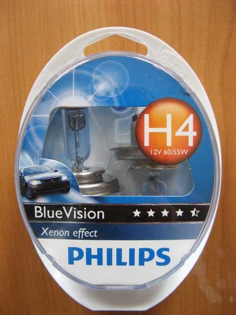Галогенка H4 PHILIPS 12V 60/55W 12342BVSM BlueVis