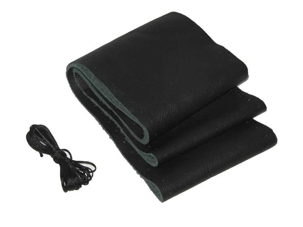 Кожаная оплетка чехол на руль размер M (37-38 см) кожа VSF-68/3 черная/обшиваемая/3 шва (авто автомобиля)