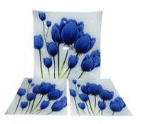 """Набор тарелок 7 пр. """"Синие тюльпаны на белом"""" Arcofam 238"""