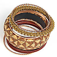 Браслет женский, объемный, из шести колец и обруча с узором из камней желтого и коричневого цветов