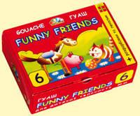 """Краска гуашевая """"Забавные друзья""""  6 цветов 20мл, с кисточкой и раскрасками"""