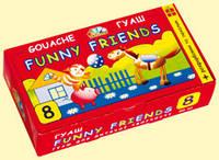 """Краска гуашевая """"Забавные друзья""""  8 цветов 20мл, с кисточкой и раскрасками"""