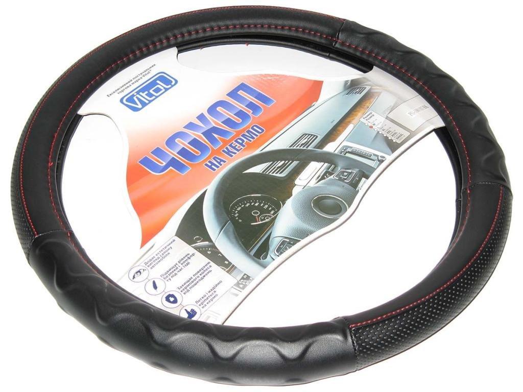 Оплетка чехол на руль размер M (37-39 см) 100305 BK черная перфорированная с крас. (авто автомобиля)