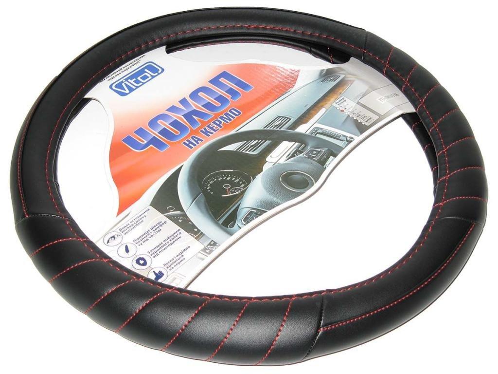 Оплетка чехол на руль размер M (37-39 см) 100109 BK черная прош крас ниткой (авто автомобиля)