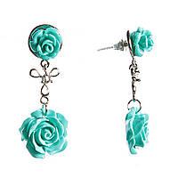 Серьги женские, подвески в виде голубых роз, соединенных подвижными звеньями, застежка пусет