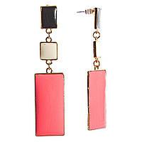 Серьги женские, оптом, подвески прямоугольные, с розовыми крупными камнями, пусеты, гвоздики