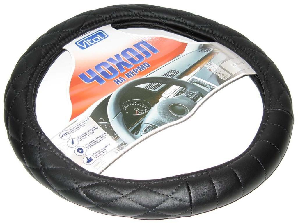 Оплетка чехол на руль L 100104 BK черная мягкая прошит.ромбиком
