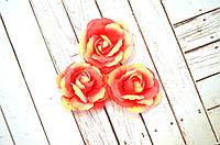 Роза, ткань, 4,5 см, 1 шт., цвет розовый/бежевый
