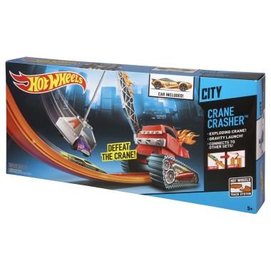 Трек  Крушитель кранов HOT WHEELS Track Builder Crane Crasher Track Set