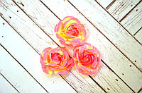 Роза, ткань, 4,5 см, 1 шт., цвет розовый/светло-бежевый