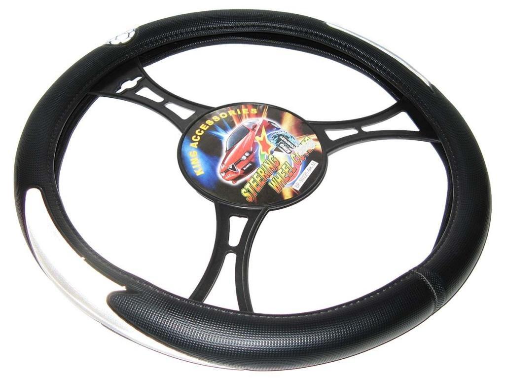 Оплетка чехол на руль размер M (37-39 см) 50220 BK черная/2 серых стрелы (авто автомобиля)