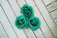Роза, ткань, 4,5 см, 1 шт., цвет бирюзовый