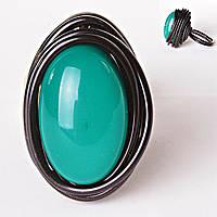 Кольцо гнездо крученое овал зеленый