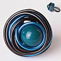 Кольцо гнездо крученое круг темно-синяя бусина градиент
