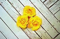 Роза, ткань, 4,5 см, 1 шт., цвет желтый