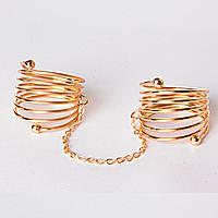 Кольцо на два пальчика спираль голд