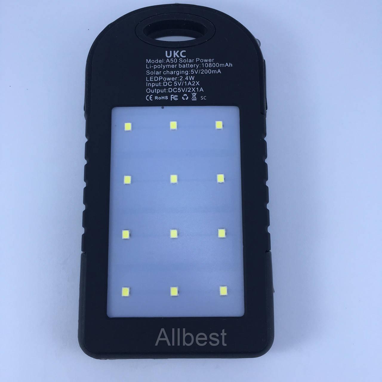 Портативное зарядное устройсто Power Bank UKC 10800mah 2 в 1 Solar+Led
