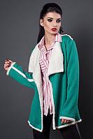Яркий бирюзовый кардиган модного фасона на каждый день в прохладную погоду