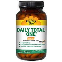 Мультивитаминный и мультиминеральный комплекс, без железа Daily Total One (60 капс.) Country Life