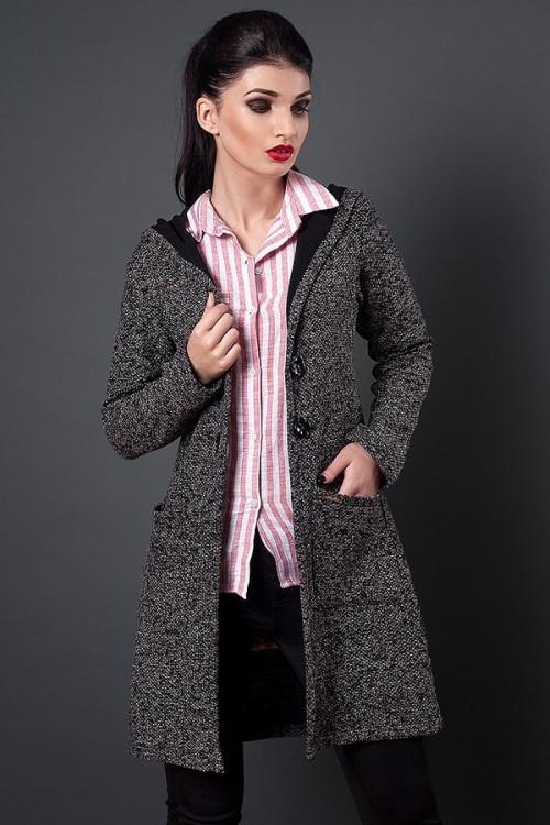918c59a9eac Теплый осенний кардиган с капюшоном выполнен из мягкой пальтовой ткани -  Оптово-розничный магазин одежды