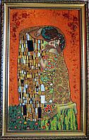 Изготовление картин из янтаря. Картина из янтаря Поцелуй Густава Климта
